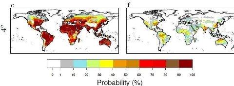 SUPER-HETEBØLGER: Kartet viser sannsynlighetsberegninger for at områder på kloden vil oppleve hetebølger på henholdsvis 40 grader og 55 grader hvis gjennomsnittstemperaturen på jorda øker med 4 grader.  Foto: EU, Joint Research Centre (JRC)