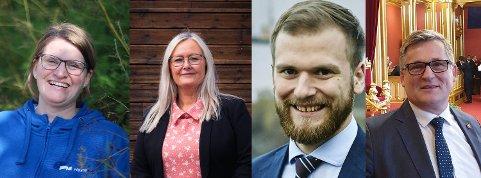 STILLER: Marianne Dobak Kvensjø (H), Mona Nilsen (AP), Willfred Nordlund (SP) og Dagfinn Olsen (FrP) stiller på valgdebatt torsdag 26. august.