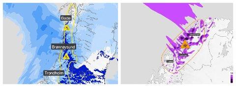 FAREVARSEL: Meteorologisk institutt har sendt ut farevarsel for helga. I Nordland er det fare for glatte veier, i Troms kraftig vind.