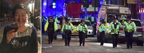 Bildet av Hannah Melleby Olsen er tatt på restauranten ved London bridge cirka en time før angrepet skjedde. Da store politistyrker kom forsto Hannah og partneren alvoret.