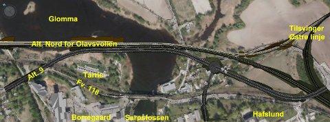 """Jernbanealternativ """"Nord for Olavsvollen i kombinasjon med vegalternativ 9"""". Dette alternativet går nord for både Tarris og Olavsvollen."""