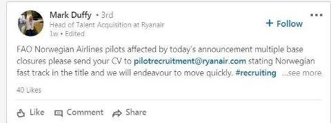 SØKER: Fra Ryanair-topp Mark Duffys Linkedin-side.