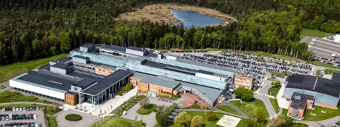 BAKKENTEIGEN: Campus Vestfold med Adalstjern i bakgrunnen. Ny vei hit er ikke hensiktsmessig, mener innsenderen.