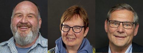 SLUTT PÅ UFREDEN: Rune Grenberg (Ap), Åse Bjerke Lilleåsen (Sp) og Niels-Ferdinand Rolsdorph (H) vil se framover.