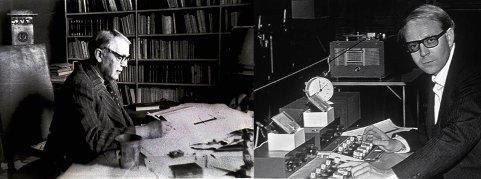 TO KUNSTNERE: Herman Wildenvey og Arne Nordheim fotografert ved hvert sitt arbeidsbord. Med en aldersforskjell på 45 år utviket de to et nært og gjensidig  beundrende forhold fram til Wildenveys død.  Det er 60 år siden fredag 27. september.