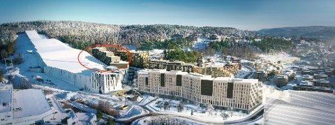 FERDIG OM ET SNAUT ÅR: Det nye Thon-hotellet ved skihallen Snø i Lørenskog er nå under bygging. Ill.: Hille Melbye Arkitekter AS