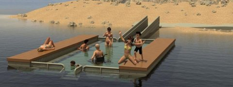 Slik kan en badebinge se ut og vil kunne bidra til økt livskvalitet for dem med funksjonsutfordringer, men kan også være en trygg arena for barn som skal lære å svømme. Illustrasjon: Marinex