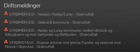 BRUDD: Her har Nordlandsnett lagt ut spesifikt om de stedene som har blitt utsatt for strømbrudd.