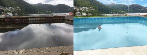 BADEPLASS: «Slippen» på Ankerløkken kan verte Sunnfjords nye badeplass! Med varmt vatn fra miljøvenleg fjernvarme, skriv artikkelforfattarane.
