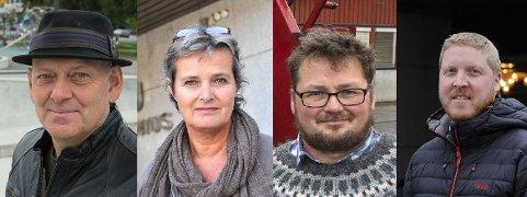 Ola Gram Dæhlen (f.v.), Heidi Vifladt, Kjetil Bjørnklund og Stian Simensen er ledere i de politiske hovedutvalgene i dag. Torvild Sveen mener det er et stykke å gå med likestillingsarbeid også i Gjøvik-politikken.