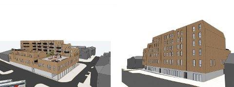 SKISSER: Slik er de første skissene av et eventuelt nybygg i Storgata 110 og 112 i Moelv. Odin Moelv AS understreker at dette er grove førsteskisser. Til venstre fasade mot stasjonen og til høyre fasade mot Storgata. Skisse: Odin Prosjektering