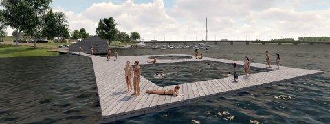 BADEBRYGGE: Slik kan man ifølge Snøhetta bade i Glomma på en trygg måte. Årnes bru i bakgrunnen. (Illustrasjon: Snøhetta)