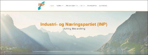 NYTT PARTI: INP ble etablert i etterkant av lokalvalget i 2019, og har 2.800 medlemmer, hvorav 290 i Vestfold. (Skjermdump fra partiprogrammet)