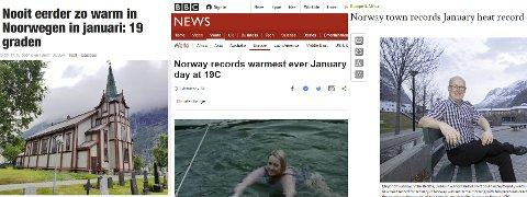 Den varme januardagen ble omtalt i blant annet Het Nieuwsblad (fra venstre), BBC og Korea Times.