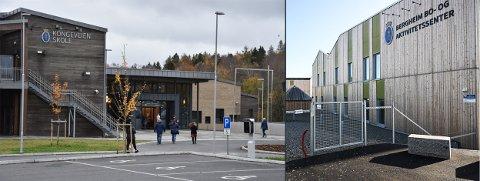 KLIMAVENNLIG: Kongeveien skole og Bergheim bo- og aktivitetssenter er bygd i massivtre. Det gjør at Halden kommune er nominert til Klima Østfold-prisen for 2020.