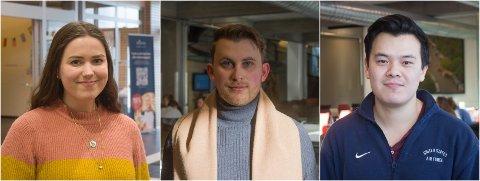 TRIVES: Torun, Kristian og Jason er fornøyd med studiene og trives som studenter i Gjøvik.