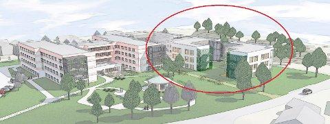 UTVIDELSE: Nybyggene på Nygård sykehjem er tenkt plassert på østsiden, der det i dag er et stort areal for parkering. (Illustrasjon: Planforum Arkitekter)