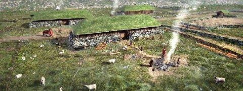 TUNET I VIGLESDAL: Slik såg tunet i Viglesdal, omtrent der Årdalshytta og den eldste turisthytta står i dag, ut for 1.500 år sidan, meiner arkeolog Jennica Svensson.