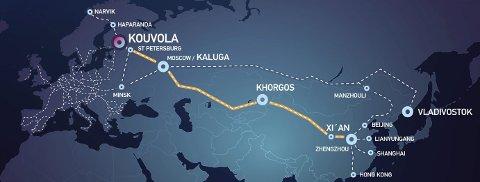 Endestasjon: Det pekes på havna i Narvik når finske Kouvola markedsfører «Silkeveien» fra Kina. Neste år er det håp om at togene kan gå helt hit. Med en helt nysignert avtale med Kasakhstan kan også den asiatiske delen av kartet snart utvides med flere destinasjoner. Illustrasjon: Kouvola Innovation