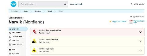 FLERE FARER: Slik ser det ut på yr.no sine nettsider for tiden når man søker både på Narvik, Ballangen, Tysfjord og alle andre steder i regionen og Nordland.
