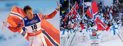 Flagget på de to bildene er tatt med to års mellomrom, med to gullmedaljører. Og flagget holder til daglig til på Kongsberg.