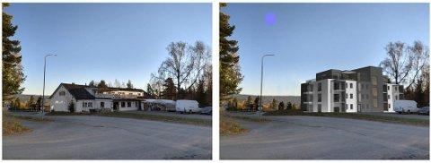 FOTOMONTASJE: Slik ser eiendommen ut i dag, og til høyre ser man hvordan en boligblokk ville sett ut. Fotomontasje: Ringsaker kommune