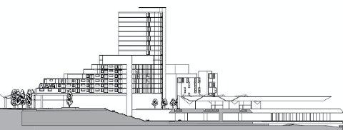 TÅRNHUS: Planene innebærer et signalbygg ved den nye jernbanestasjonen som er 65 meter høyt, og kan gi plass til 20 etasjer. (Illustrasjon: Rambøll)