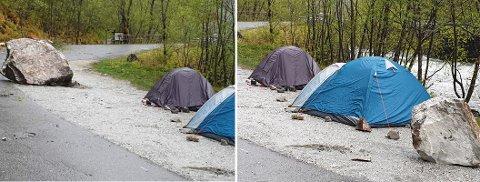 NÆRE PÅ: Store steinar på fleire tonn dundra ned fjellsida ved Stalheimselvi i natt. Like ved hadde turistar slått opp telt der dei låg og sov.