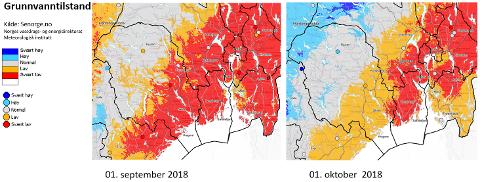 NORMALISERT: Dette kartet viser grunnvannstanden i Telemark 1. september og 1. oktober. På den tiden har det normalisert seg.