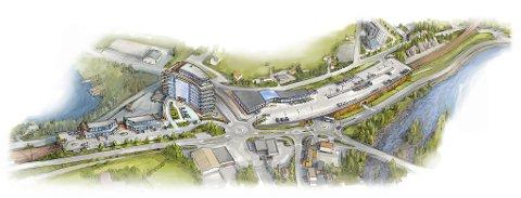 Denne skissen lanserte Næringsforeningen for fem år siden, for å vise hvordan et lokk over selve jernbanestasjonen på Eie kan skape muligheter i området.