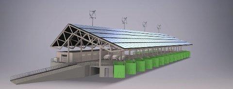 Nytt Avfallsmottak: Her blir det sortering av avfall. På taket er det tegnet inn både solcelleanlegg og fire vindmøller. Kommunen har ikke helt bestemt seg for hvilken type vindmølle, men det kan bli slik denne illustrasjonen viser.                                                                                                                                                                              Tegning: Halvor Torgersen