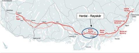 SMALERE: Hele strekningen fra Mandal til Ålgård kan nå bygges som en smalere firefeltsvei.