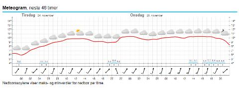 MILDT: Været blir mildt og grått de neste dagene i Moss, ifølge yr.no og Meteorologisk institutt.