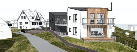 ÅSEN: Prosjektet er tenkt i tre etasjer med fem enheter i alt. (Illustrasjon: MTS Arkitekter)