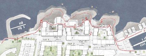 I planforslaget ligger to alternativer. En hvor man kan gå langs bølgebrytere ut mot havet, og én inn mellom bygninger. Dette for å kunne gå i ly for været eller oppsøke en trasé mot havet.