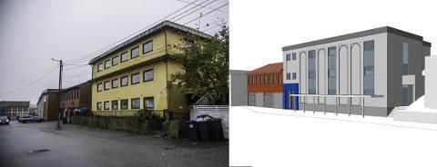 Det er dette kontorbygget i Ilaveien 32 som skal gjøres om til moské og forsamlingshus (se tegning til høyre). Etter at mindretallet i planutvalget anket flertallets ja til planene, blir det nå formannskapet som avgjør saken.
