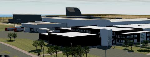SLAKTERI: Bygningen i front ligger der i dag, bygningen i hvitt er det planlagte anlegget og det mørke bygget i bakgrunnen eies av Tine. Illustrasjonen er laget på et tidlig tidspunkt og er ikke et endelig utkast.