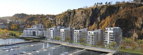 Fylles opp: Slik kan det nye boligprosjektet bli seende ut. illustrasjon: Link Arkitektur