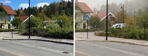 RYDDET: Nå er krysset Lundgaardvegen - Elvarheimgata ryddet. Sikten inn i krysset er dermed bedret. Bildet til venstre er tatt fredag 3. september. Bildet til høyre om morgenen tirsdag 7. september.