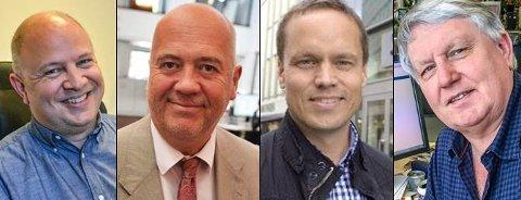 I VEKST: Avisredaktørene Audun Bårdseth i Gjengangeren (fra venstre), Sigmund Kydland i Tønsbergs Blad, Steinar Ulrichsen i Sandefjords Blad og Terje Svendsen i Østlands-Posten.