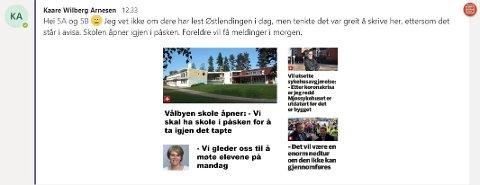 LURTE ELEVENE MED PÅSKESKOLE: Lærer Kaare Wilberg Arnesen ved Vålbyen skole i Våler la onsdag ut denne meldingen på det interne kommunikasjonsverktøyet Teams. Det lurte noen elever, mens andre avslørte Arnesens aprilsnarr.