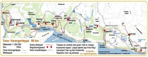 HER GÅR TUREN: Tana-Varangerløypa er 90 kilometer lang og strekker seg fra Seida til Vadsø.