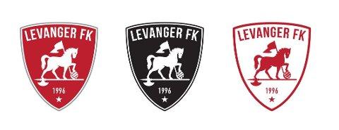FORSLAG TIL NY LFK-LOGO: Under årsmøtet i 2022 skal Levanger FKs medlemmer stemme for om de vil at dette skal bli klubbens nye logo. Den med rød bakgrunn er tiltenkt hjemmedrakten.