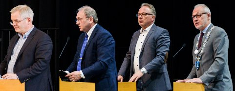 SENTRALE LARVIK-POLITIKERE: Fra venstre: Erik A. Sørensen, Per Manvik, Bjarne Steen og Rune Høiseth.
