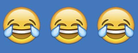 Ler så de griner: Slik ser tegnet for årets nyord ut: Jeg ler så jeg griner, eller «Face with Tears of Joy».