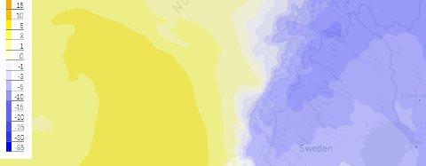 Temperturprognosene fredag formiddag. Kulden er på vei bort - og plussgradene kommer til Salten.