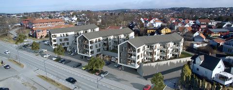 Næring og bolig: I første etasje på lamellbyggene er det tenkt næringslokaler, leilighetene kommer over.