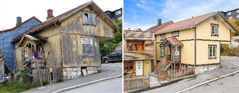 Totalrenovert: Bildet til venstre viser hvordan huset i Finn Hovsgate så ut i 2013. Bildet til høyre viser hvordan det ser ut i dag. Nå selges det for 4,2 millioner.