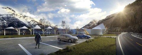 Rasteplass: Riksveg 13, Espenes ved DjupevikIllustrasjoner; Code: arkitektur as