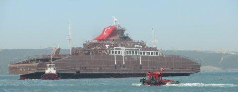 Slik blir Bastø VI seende ut, som nå bygges på Cemre Shipyard i Tyrkia, naboverftet til Sefine Shipyard, hvor Bastø IV bygges.